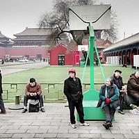 China,Beijing maart 2008..Chinese toeristen bezoeken  De Verboden Stad