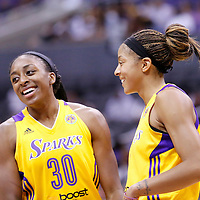 22 June 2014: forward Nneka Ogwumike (30) of the Los Angeles Sparks is seen next to forward/center Candace Parker (3) of the Los Angeles Sparks during the San Antonio Stars 72-69 victory over the Los Angeles Sparks, at the Staples Center, Los Angeles, California, USA.
