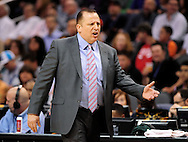 Nov. 14, 2012; Phoenix, AZ, USA; Chicago Bulls head coach Tom Thibodeau reacts from the sidelines during the game against the Phoenix Suns in the first half at US Airways Center.  The Bulls defeated the Suns 112-106 in overtime. Mandatory Credit: Jennifer Stewart-US PRESSWIRE.