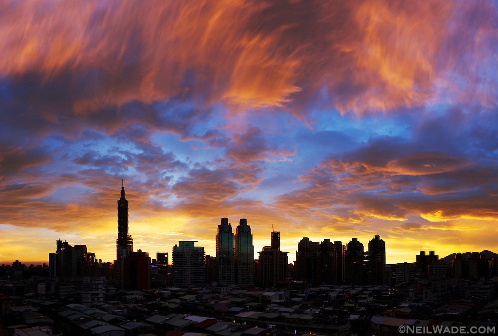 Taipei's skies explode in this colorful sunset.