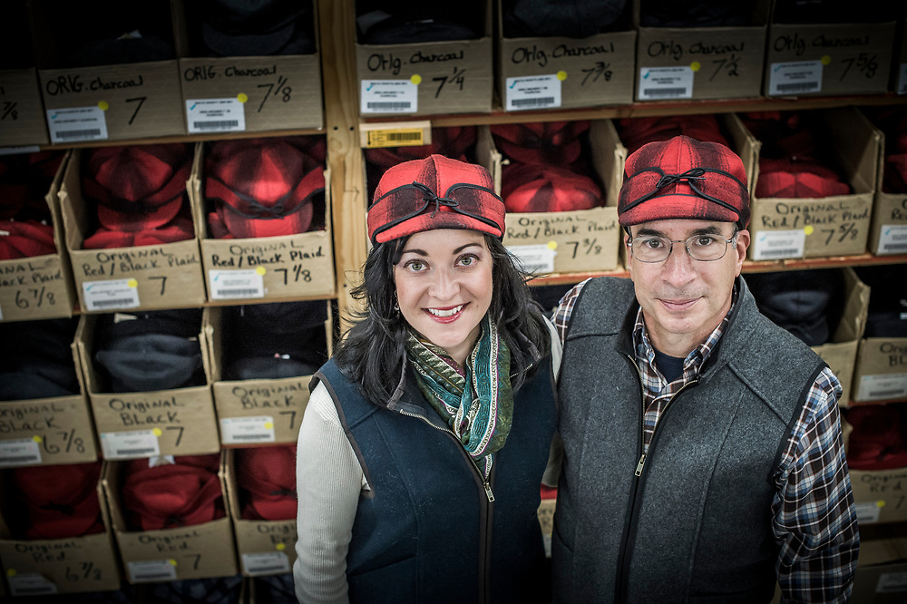 Father daughter team Gina Thorsen and Bob Jacquart of Stormy Kromer, the iconic hat made in Ironwood, Michigan.