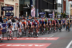 The peloton chase in the final laps during Stage 4 of 2020 Santos Women's Tour Down Under, a 42.5 km road race in Adelaide, Australia on January 19, 2020. Photo by Sean Robinson/velofocus.com