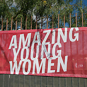 November 15, 2014, Phoenix, Arizona:<br /> An 'Amazing Young Women' sign is shown during an Elite Clubs National League (ECNL) soccer tournament at the Reach 11 Sports Complex in Phoenix, Arizona Saturday, November 15, 2014.<br /> (Photo by Billie Weiss/ECNL)