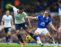 LONDON, ENGLAND - Sunday, February 9, 2014: Everton's Leon Osman in action against Tottenham Hotspur's Mossa Dembele during the Premiership match at White Hart Lane. (Pic by David Rawcliffe/Propaganda)