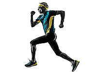 one caucasian senior man running runner jogger jogging  in studio shadow silhouette isolated on white background