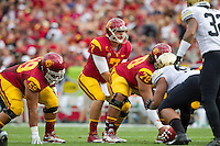 20 October 2012: Quarterback (7) Matt Barkley of the USC Trojans lines up against the Colorado Buffalos during the first half of USC's  50-6 victory over Colorado at the Los Angeles Memorial Coliseum in Los Angeles, CA.
