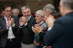 Foto LaPresse/Filippo Rubin<br /> 17/11/2019 Bologna (Italia)<br /> Cronaca Politica<br /> Assemblea Pd a Bologna - Eataly Fico Bologna<br /> Nella foto: Nicola Zingaretti saluta un partigiano reduce dell'eccidio di Marzabotto<br /> <br /> Photo LaPresse/Filippo Rubin<br /> November 17th, 2019 Bologna (Italy)<br /> Politics<br /> PD meeting - Fico Eataly World Bologna <br /> In the pic: Nicola Zingaretti