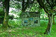 Derelict shack in rural setting in the round garden at Kilfenora, County Clare, West of Ireland