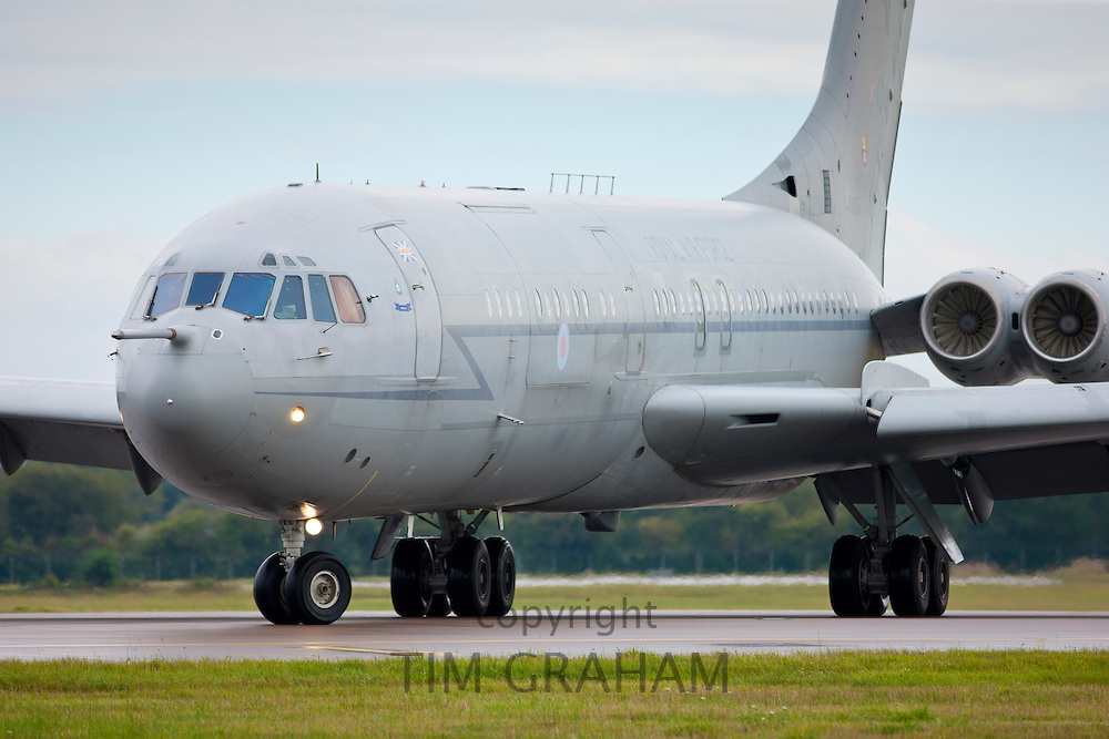 RAF Vickers VC10 air tanker plane landing at RAF  Brize Norton Air Base  in Oxfordshire, UK
