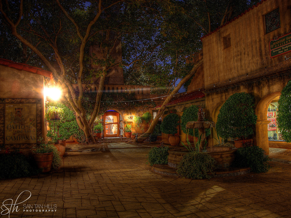 One of Tlaquepaque's beautiful courtyards by night, Sedona, AZ
