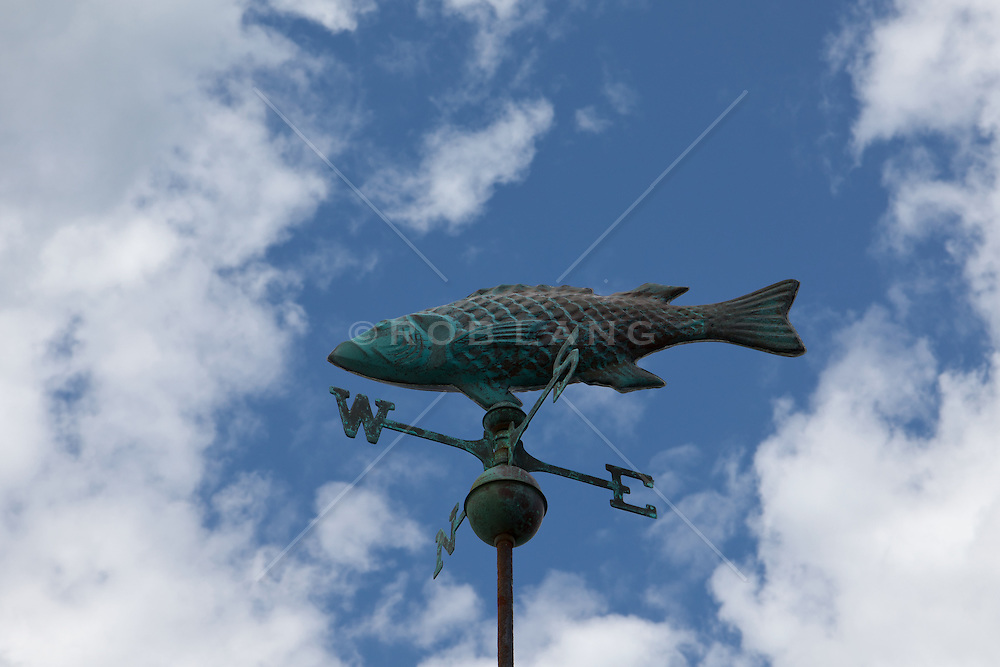 fish weathervane against a blue sky with clouds