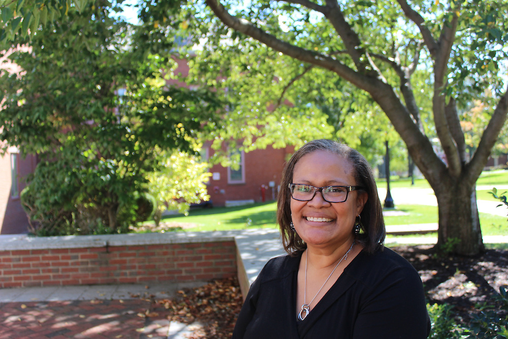 9/13/16 – Medford/Somerville, MA – Dean of Admissions Karen Richardso poses for a portrait outside of Bendetson Hall on September 13th, 2016. (Alexis Serino / The Tufts Daily Archives)