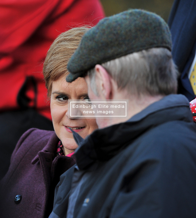 SNP leader Nicola Sturgeon campaigns in Hawick in the Scottish Borders.<br /> <br /> © Dave Johnston / EEm