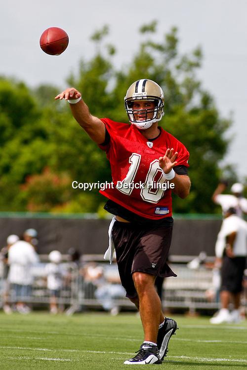 June 5, 2010; Metairie, LA, USA; New Orleans Saints quarterback Chase Daniel (10) throws a pass during a mini camp practice at the New Orleans Saints practice facility. Mandatory Credit: Derick E. Hingle