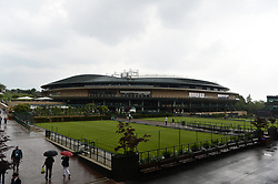 © Licensed to London News Pictures. 19/05/2019. London, UK. The new retractable roof of Wimbledon No.1 Court of the is unveiled for the first time at No.1 Court Celebration event. At a cost of £70 million, the redevelopment also includes extended seating for 1000 spectators. Photo credit: Ray Tang/LNP