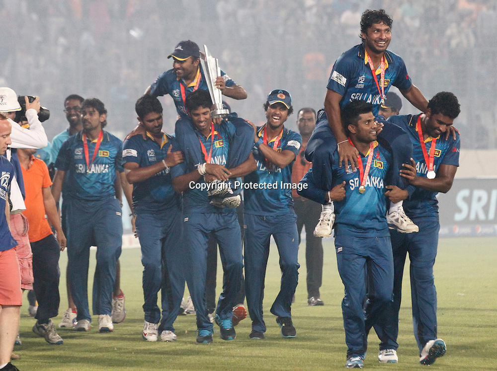 Sri Lankan victory lap, ICC T20 cricket World Cup Final - Sri Lanka v India, Sher-e-Bangla National Cricket Stadium, Mirpur, Bangladesh, 6 April 2014. Photo: www.photosport.co.nz