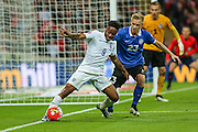England's Raheem Sterling on the ball during the UEFA European 2016 Qualifier match between England and Estonia at Wembley Stadium, London, England on 9 October 2015. Photo by Shane Healey.