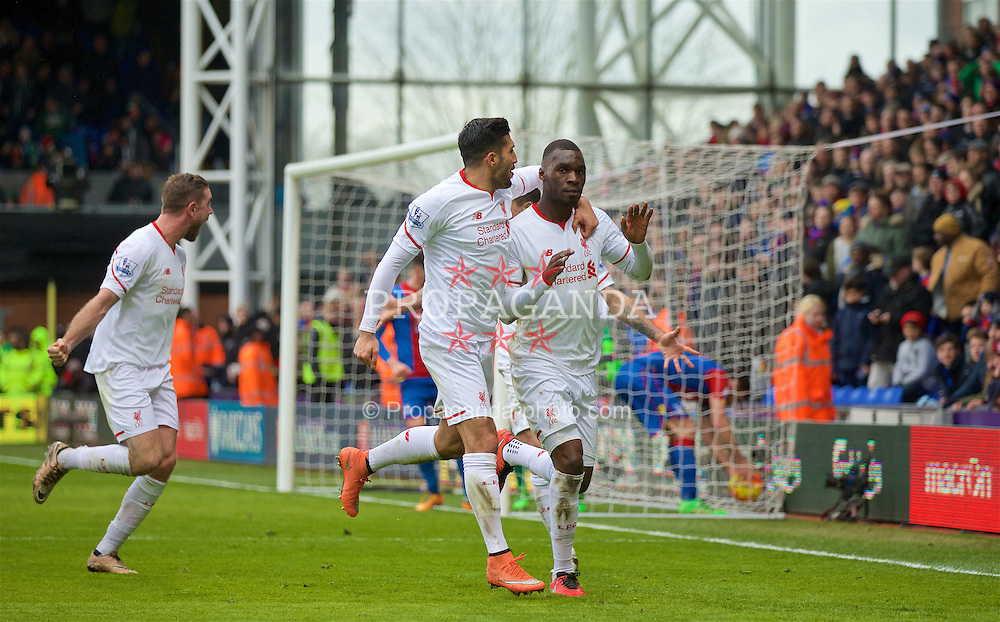 LONDON, ENGLAND - Sunday, March 6, 2016: Liverpool's Christian Benteke celebrates scoring the winning second goal against Crystal Palace from a penalty kick with team-mate Emre Can during the Premier League match at Selhurst Park. (Pic by David Rawcliffe/Propaganda)