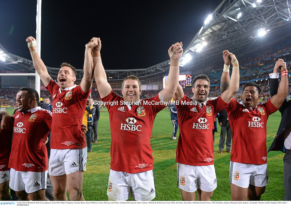 6 July 2013; British & Irish Lions players, from left, Mako Vunipola, Tommy Bowe, Sean O'Brien, Conor Murray and Manu Tuilagi following his side's victory. British & Irish Lions Tour 2013, 3rd Test, Australia v British & Irish Lions. ANZ Stadium, Sydney Olympic Park, Sydney, Australia. Picture credit: Stephen McCarthy / SPORTSFILE