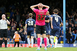Callum Elder of Peterborough United cuts a dejected figure at full-time - Mandatory byline: Joe Dent/JMP - 07966386802 - 05/09/2015 - FOOTBALL - Roots Hall -Southend,England - Southend United v Peterborough United - Sky Bet League One