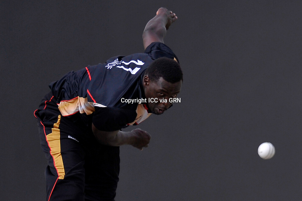 Canada's Henry Osinde at the ICC World Twenty20 Qualifier UAE 2012. Pix ICC/Thusith Wijedoru
