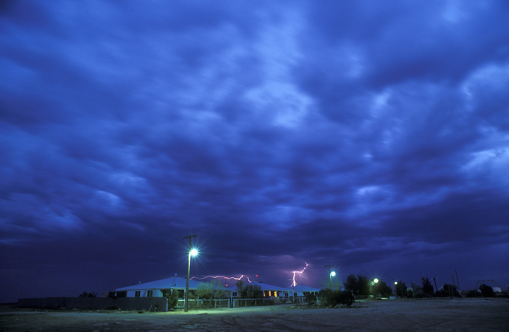 Lighting precedes a dust storm at Forrest on the Nullarbor Plains Western Australia