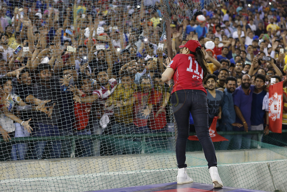 Preity Zinta Kings XI Punjab owner distributes T-shirts during match 21 of the Vivo Indian Premier League ( IPL ) 2016 between the Kings XI Punjab and the Mumbai Indians held at the IS Bindra Stadium, Mohali, India on the 25th April 2016<br /> <br /> Photo by Arjun Singh / IPL/ SPORTZPICS