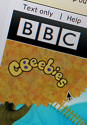 Detail of screenshot from website of BBC CBeebies childrens' television channel homepage