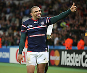 South Africa's Bryan Habana celebrating scoring a hat trick of tries and equaling Jonah Lomu's world cup record during the Rugby World Cup Pool B match between South Africa and USA at the Queen Elizabeth II Olympic Park, London, United Kingdom on 7 October 2015. Photo by Matthew Redman.