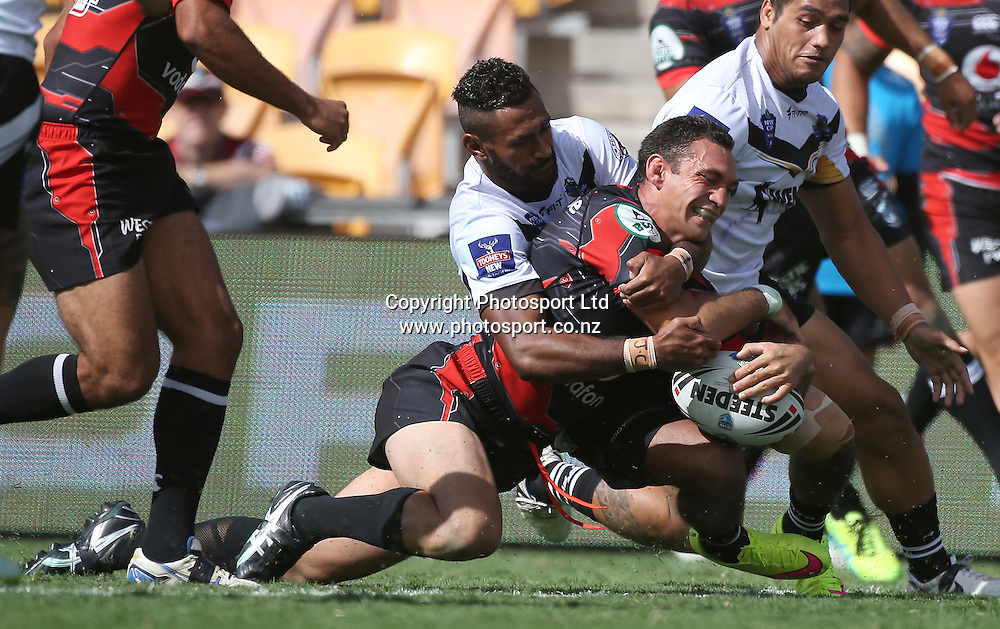 NZ Warriors player George Carmont dives over to score during the NSW Cup Match  between the NZ Warriors and the Wentworthville Magpies played at Mt Smart Stadium in South Auckland on the 21st March 2015. <br /> <br /> Copyright Photo; Peter Meecham/ www.photosport.co.nz