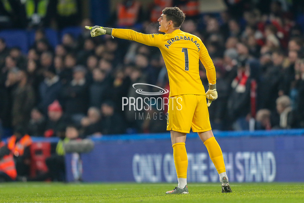 Chelsea goalkeeper Kepa Arrizabalaga (1) pointing, directing, signalling during the Premier League match between Chelsea and Arsenal at Stamford Bridge, London, England on 21 January 2020.