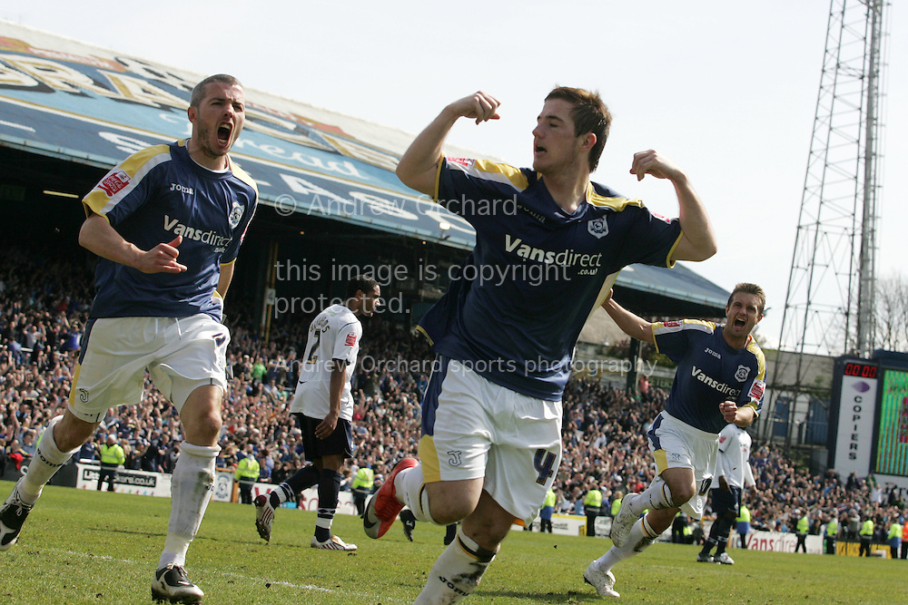 Ross McCormack of Cardiff City (c) celebrates after scoring  the equaliser from a penalty to make the final score 2-2. Coca Cola Championship match, Cardiff City v Swansea City at Ninian Park, Cardiff on Sunday 5th April 2009. pic by Andrew Orchard, Andrew Orchard sports photography.