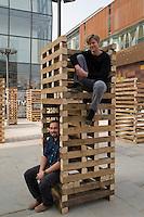 Sami Rintala(L) and Dagur Eggertsson(R) of Rintala-Eggertsson architects Ltd with their installation in Sanlitun North Village, Beijing. October 2009.