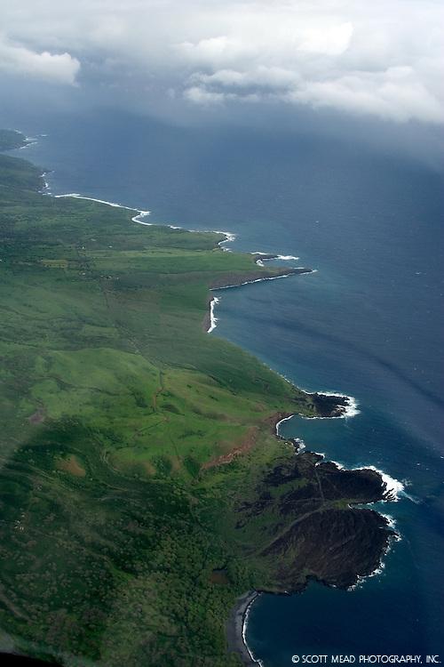 Aerial image of coastline of Hana, Maui, Hawaii
