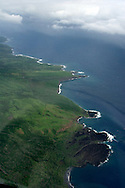 Aerial image of coastline of Hana, Maui, Hawaii