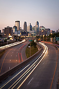 Downtown Minneapolis skyline from above I-35W