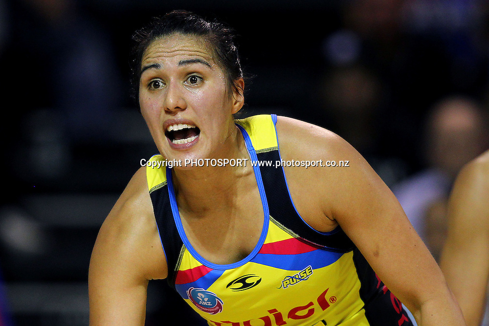 Pulse's Liana Leota reacts. ANZ Netball Championship, Northern Mystics v Central Pulse, Trusts Stadium, Auckland, New Zealand. Sunday 21st April 2013. Photo: Anthony Au-Yeung / photosport.co.nz