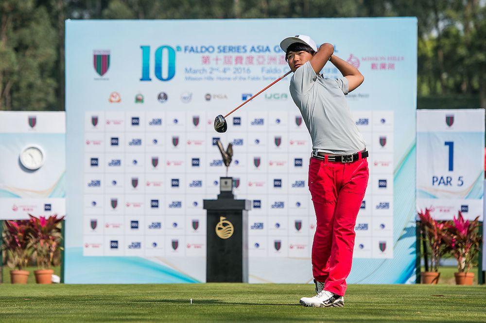 Hosho Takahashi of Japan in action during day one of the 10th Faldo Series Asia Grand Final at Faldo course in Shenzhen, China. Photo by Xaume Olleros.