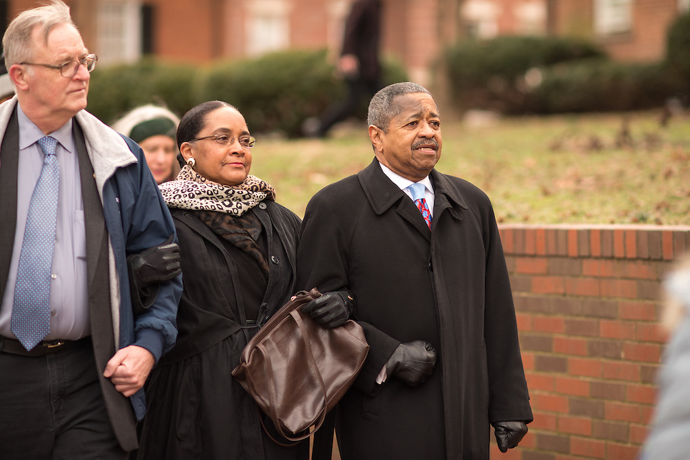 Ohio University President Roderick McDavis (Right), First Lady Deobrah McDavis (Center) and Athens Mayor Paul Wiehl particpate in the MLK Jr. Silent March on College Greeen.