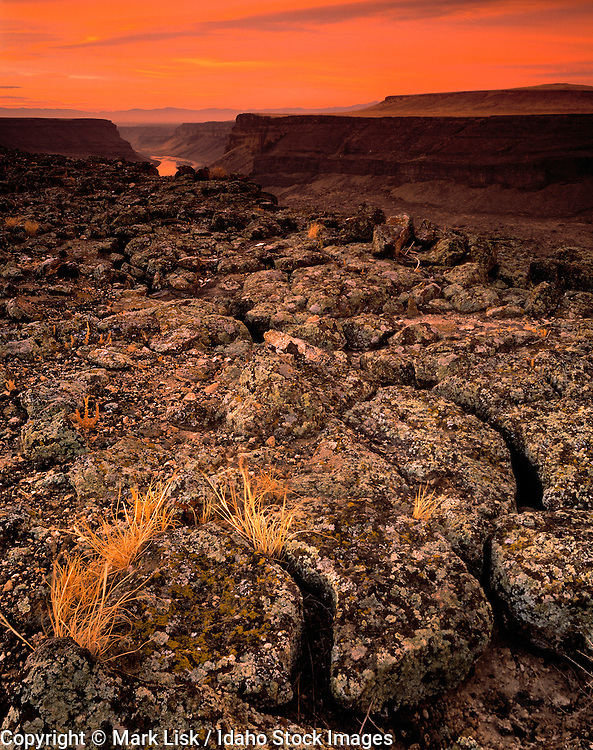 Idaho. Sunrise on the cliff tops of the Snake River Birds of Prey Area.