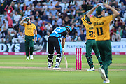 Martin Guptil of Worcestershire Rapids is almost bowled, close gathering by the reacion of the fielders during the Vitality T20 Blast North Group match between Nottinghamshire County Cricket Club and Worcestershire County Cricket Club at Trent Bridge, West Bridgford, United Kingdon on 18 July 2019.