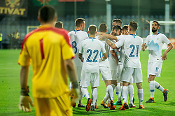 Players of Slovenia celebrate after scoring first goal during friendly football match between National Teams of Montenegro and Slovenia, on June 2, 2018 in Stadium Pod goricom, Podgorica, Montenegro. Photo by Vid Ponikvar / Sportida