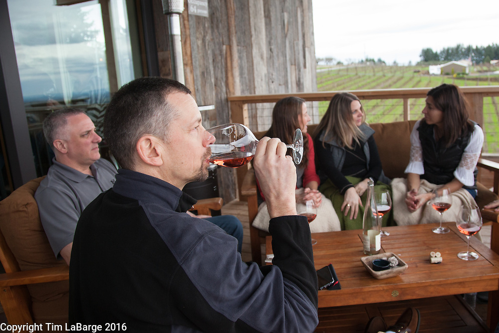 Enjoying wine at Brooks Wines near Amity, Ore. Photo © Tim LaBarge 2016