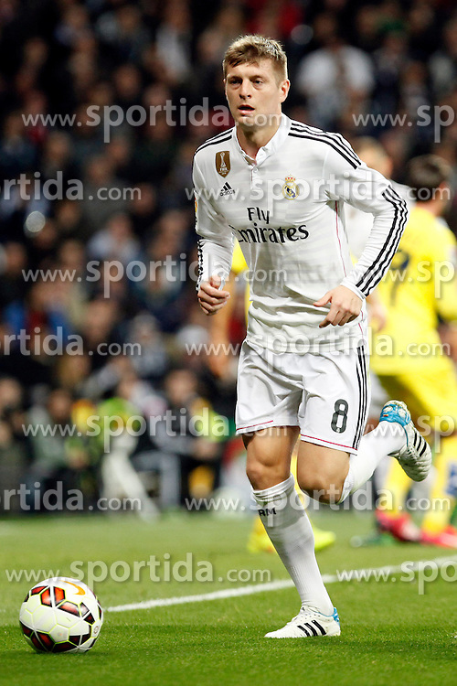 01.03.2015, Estadio Santiago Bernabeu, Madrid, ESP, Primera Division, Real Madrid vs FC Villarreal, 25. Runde, im Bild Toni Kroos of Real Madrid // during the Spanish Primera Division 25th round match between Real Madrid CF and Villarreal at the Estadio Santiago Bernabeu in Madrid, Spain on 2015/03/01. EXPA Pictures &copy; 2015, PhotoCredit: EXPA/ Alterphotos/ Caro Marin<br /> <br /> *****ATTENTION - OUT of ESP, SUI*****