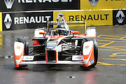 Mahindra Racing driver, Nick Heidfeld in the wet weather during Round 9 of Formula E, Battersea Park, London, United Kingdom on 2 July 2016. Photo by Matthew Redman.