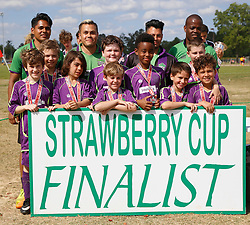 10 April 2016. Hammond, Louisiana.<br /> South Tangi Youth Soccer Association (STYSA), Chappapeela Sports Complex, 30th Annual Strawberry Cup,  <br /> New Orleans Jesters Youth Academy U10 team Green 2 receive their runners up medals after losing 0-2 to U10 Green Bayou Thunder from the Slidell Youth Soccer Club.<br /> Photo©; Charlie Varley/varleypix.com