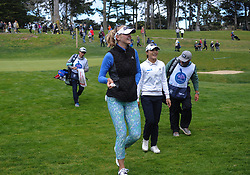 April 29, 2018 - San Francisco, CA, U.S. - SAN FRANCISCO, CA - APRIL 29: Jessica Korda of the United States and Lydia Ko of New Zealand walk to the eighth tee during the final round of the Mediheal Championship on April 29, 2018 at Lake Merced Golf Club in San Francisco,CA (Photo by Samuel Stringer/Icon Sportswire) (Credit Image: © Samuel Stringer/Icon SMI via ZUMA Press)