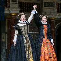 As You Like It by William Shakespeare;<br /> Directed by Blanche McIntyre;<br /> Michelle Terry as Rosalind;<br /> Ellie Piercy as Celia;<br /> Shakespeare's Globe, London, UK;<br /> 19 May 2015;<br /> © Pete Jones