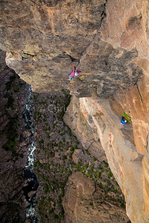 "Kate Rutherford climbing the ""Free Nose,"" 12c, North Rim, Black Canyon of the Gunnison."