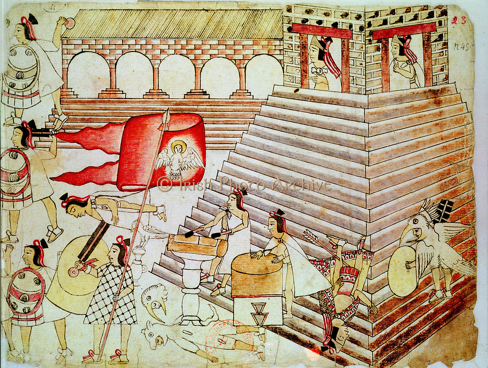 Aztec warriors defending the temple of Tenochtitlan against Conquistadors. Biblioteque Nationale, Paris.